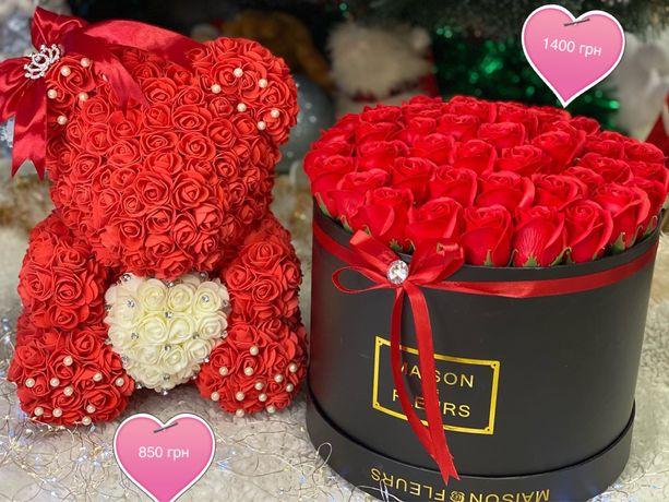 Мишка из 3д роз, подарок, любимой, маме, на 8 марта.