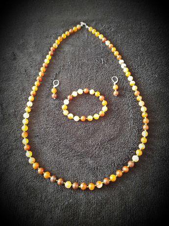 Komplet biżuterii agat handmade