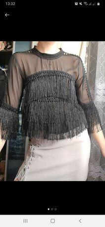 Нарядная блуза из сетки с бахромой