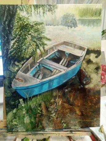 Картина маслом. Старенькая рыбацкая лодка.