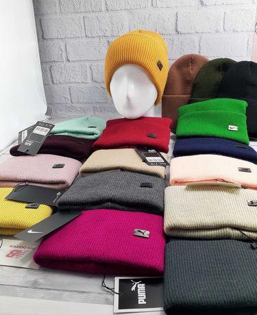 Тёплые шапки , женские ,Puma Nike Adidas, доступны все цвета
