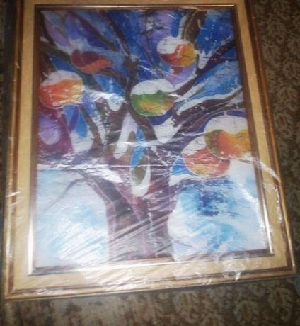 """Картина """"Яблука на снігу""""- розпис на тканині"""