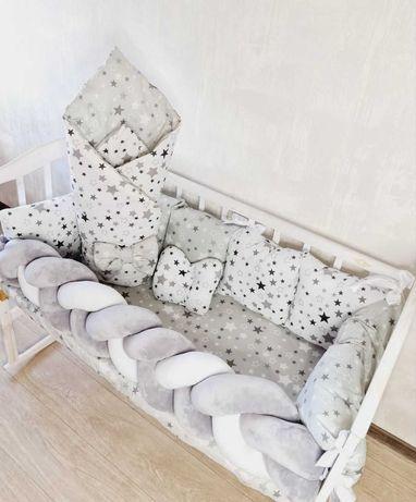 """Бортики набор постельного для новорожденного """"Minimal с косичкой"""""""