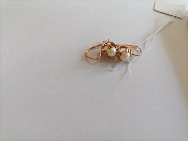 Kolczyki Złote z Perłami retro perła różowe złoto zsrr