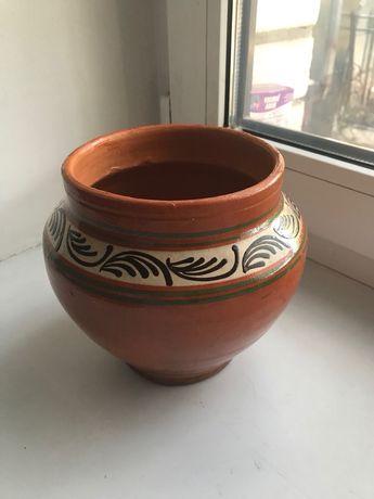 Глиняный горшок 2 л горнятко посуда горщик посуд чашка