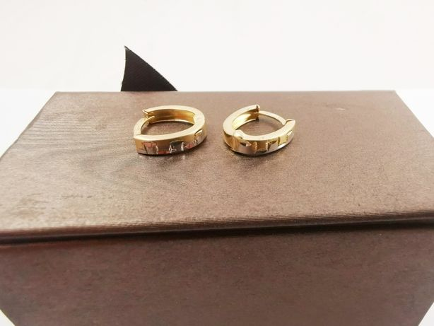 NOWE Złote kolczyki białe/żółte złoto pr.585 |Plus Lombard Kłodzko