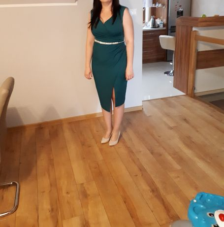 Sukienka butelkowa zieleń. Asymetryczna. Pasek gratis.