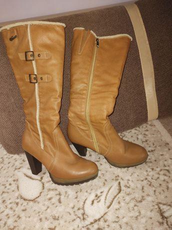 Skórzane buty/kozaki zimowe