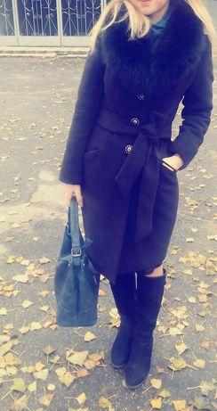 Зимнее кашемировое пальто кашемир , мех отстегивается
