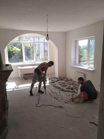Вывоз Демонтаж стен перегородок плитки штукатурки стяжки пола снос