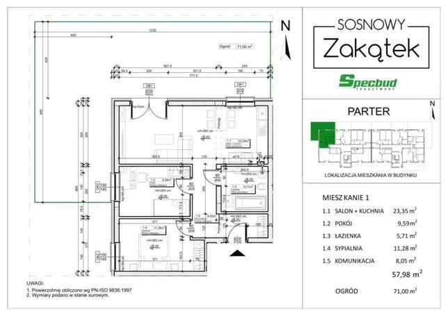 sprzedam mieszkanie 58m2 z ogródkiem 71m2