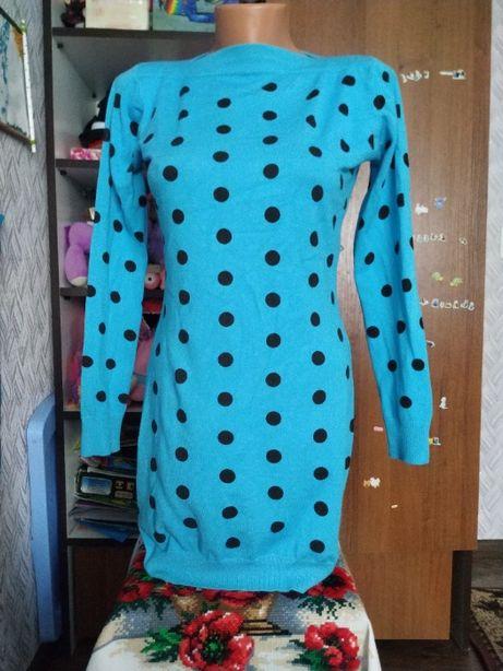 Теплое голубое платье,туника в горох 44-46 р.