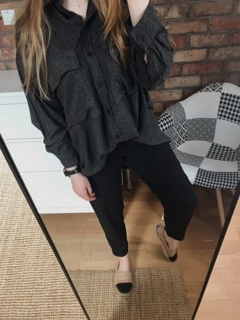 Eleganckie spodnie cygaretki H&M w kratkę czarno-szare eleganckie garn