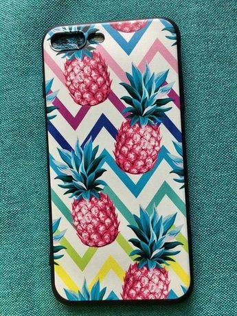 Новый чехол на айфон 7 плюс 7plus белый с ананасами розовыми