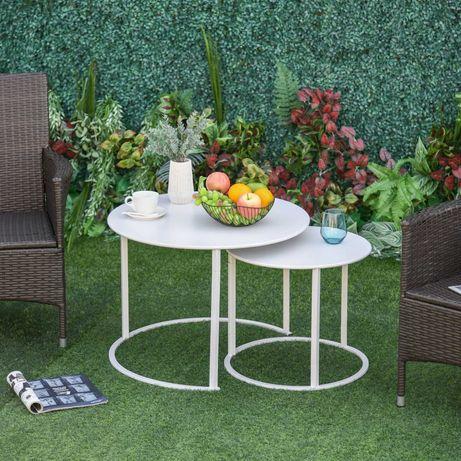 Stoliki kawowe metalowe zestaw 2szt do ogrodu lub domu