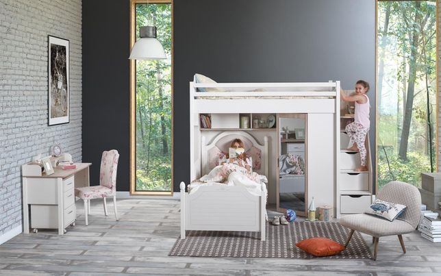 Łóżko piętrowe dziecięce z szafa biurko komoda ZESTAW Outlet -30%