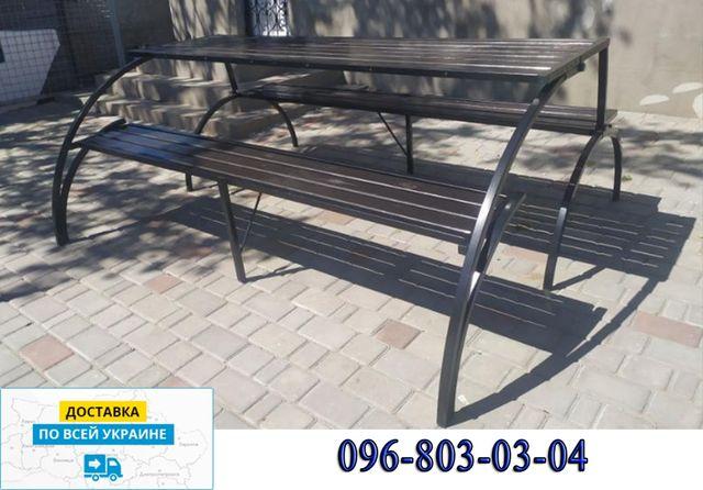 Удобная раскладная мебель трансформер для отдыха на улице. Стол- лавка