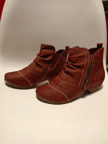 Buty Botki kozaczki bordowe kożuszek