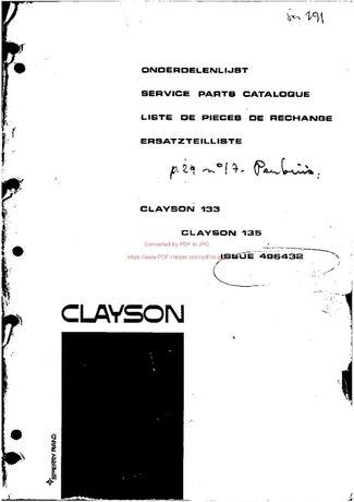 Katalog części kombajn Clayston 133,135