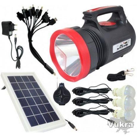 Фонарь ручной светодиодный Yajia YJ-1908T с солнечной панелью и USB