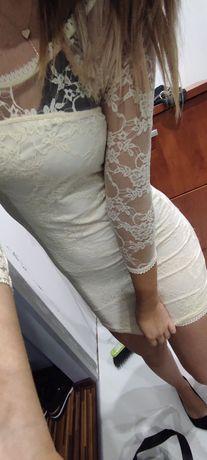 Beżowa sukienka odkryte plecy koronka XS/S