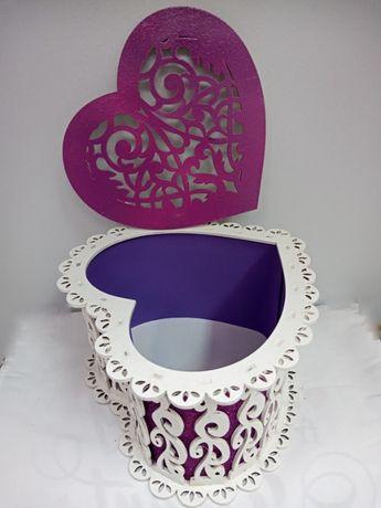 flowerbox serce pudełko ażurowe ślub