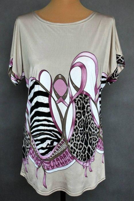 Bluzka krótki rękaw kimono r. 42 Wzory zwierzęce zebra i pantera Piotrków Trybunalski - image 1