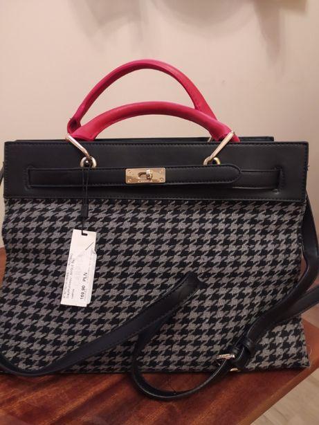 NOWA torba, torebka CARPISA, szaro-czarna pepitka