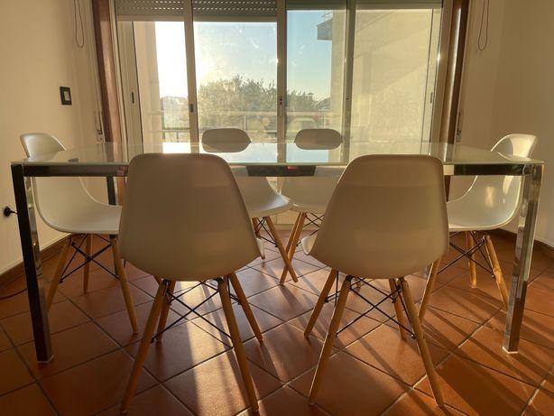 Mesa cromado/vidro branco 180x85 cm
