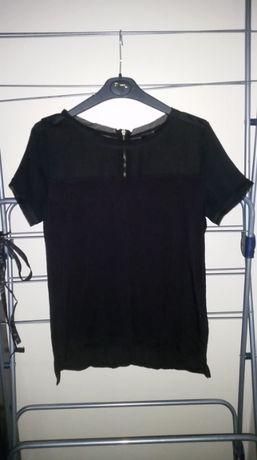 Czarna bluzka H&M mgiełka łączone materiały zip krótki rękaw T-shirt