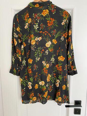Koszula tunika długa rozpinana granatowa kwiaty