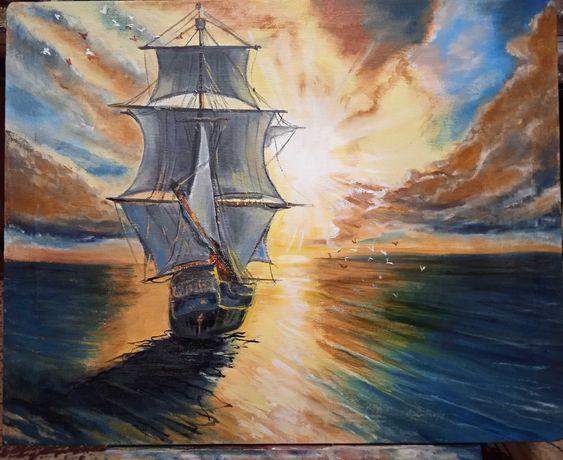 Море, корабль, рассвет картина маслом на холсте 40х50