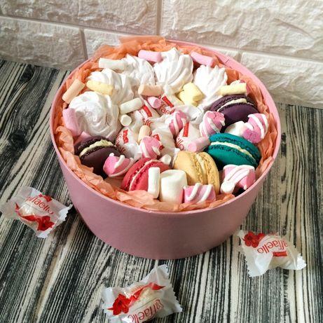 Подарочный бокс, подарок, девушке, из конфет, зефира, маршмелоу