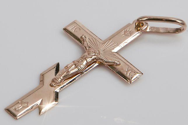 Złoty krzyż Prawosławny zawieszka krzyżyk czerwone złoto oc001r W