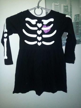 Kościortup szkielet sukienka H&M strój kostium przebranie 104 cm