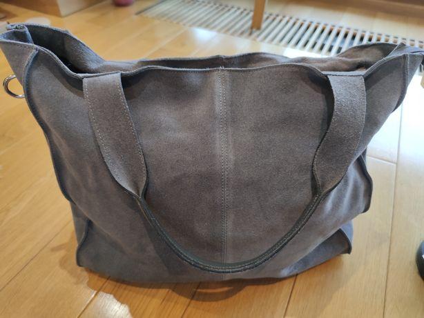 Nowa skórzana torba, torebka szara z przesyłką