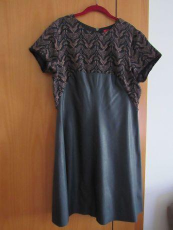 Vestido em ecopele, tamanho 42, azul escuro, Ana Sousa.