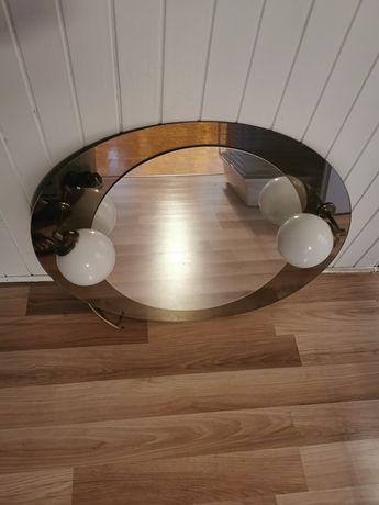 Lustro, lampa, kinkiety, światło, łazienka, klosze