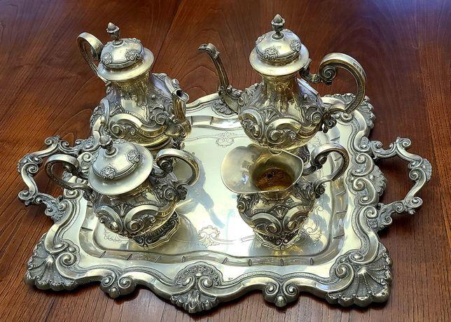 Serviço de chá completo em prata, punção Javali.