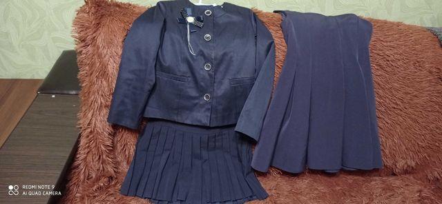 Костюм школьный на девочку сарафан и юбка и пиджак рост 128