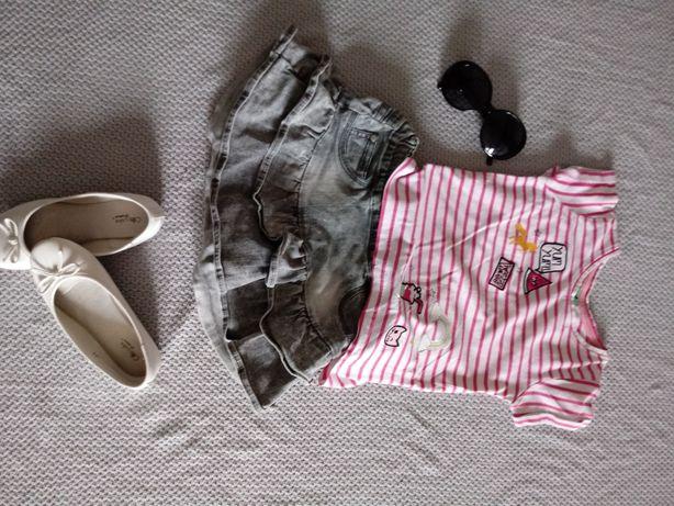 Zestaw dla dziewczynki 110-116 spódniczka jeansowa