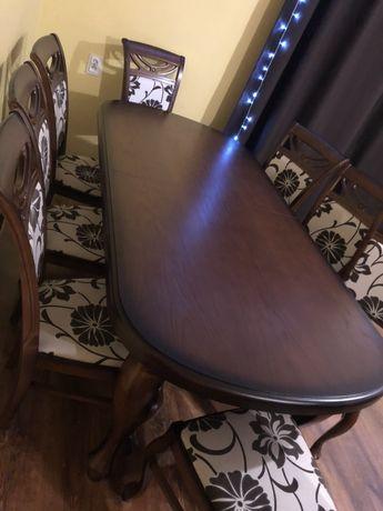 Stół do salonu, 8 krzeseł, Stan idealny