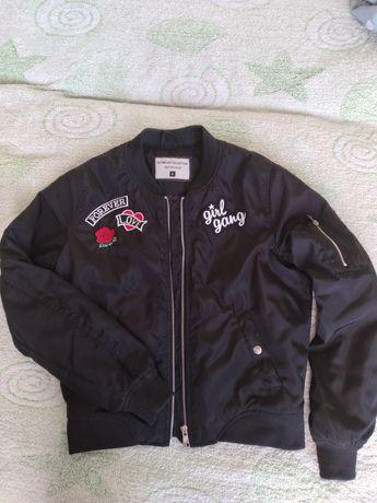 Бомбер черный, демисезонная куртка,ветровка,джемпер, terranova outwear