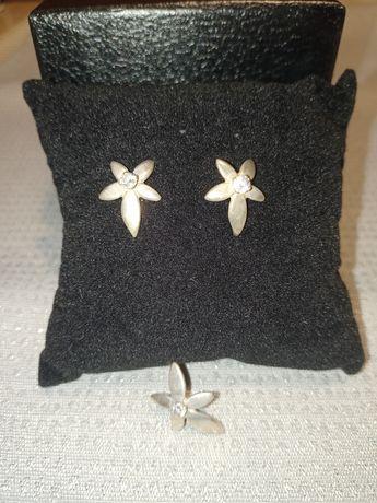 Komplet biżuterii srebrnej próba 925 kolczyki zawieszka