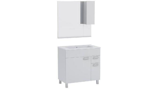 Zestaw łazienkowy Completto szafka z umywalką i lustrem, biały 80 cm