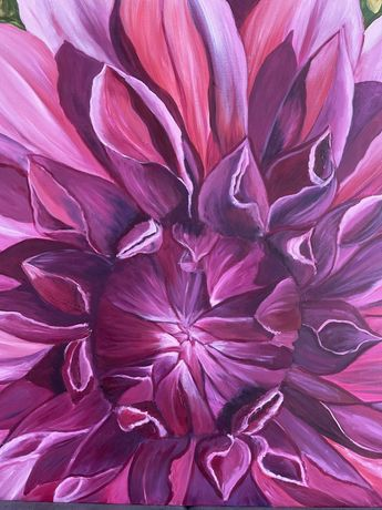 Картина «Мамина георгина» авторская, Roxana White.