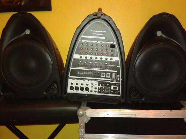 Nagłośnienie American Audio PPA 210+2x statywy,kable