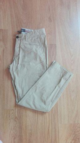 Chinosy spodnie męskie cargo h&m jasne beżowe basic slim proste s 36