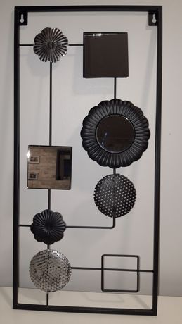 Dekoracja na ścianę- metal i lusterka