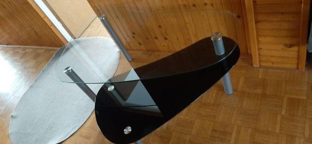 Szklany stolik dwupoziomy, na kółkach czarny stół szklany, ława metal